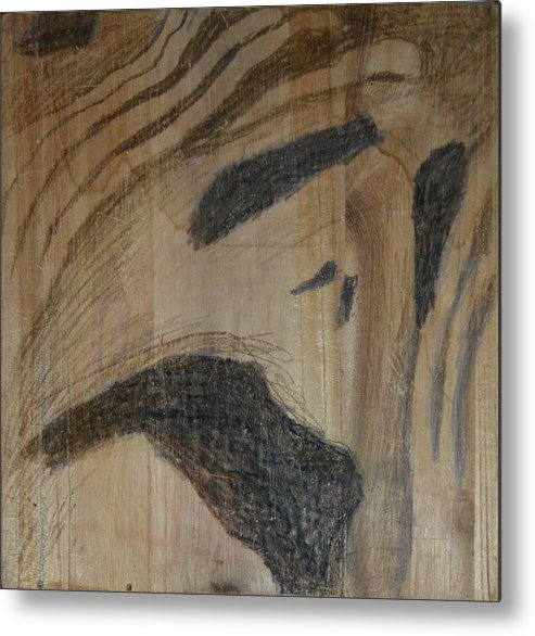 Abstract Modern Outsider Raw Folk Construction Christ Jesus Savior Religious Christian Catholic Religion Wood Wooden Box Distress Stress People Black Metal Print featuring the painting Man Of Sorrows I - Back by Nancy Mauerman