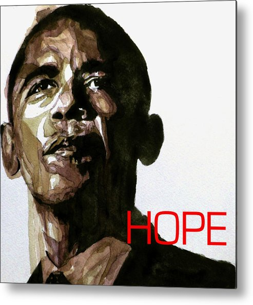 Barack Obama Metal Print featuring the painting Obama Hope by Paul Lovering