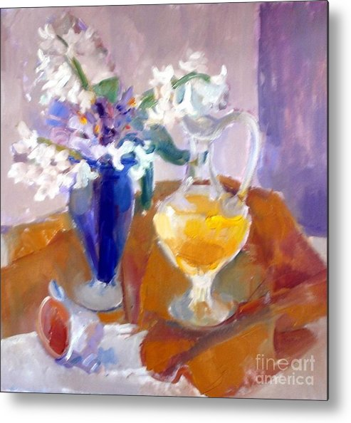 Metal Print featuring the painting Orange Stil Life I by LAURIC Sophia-Cristina