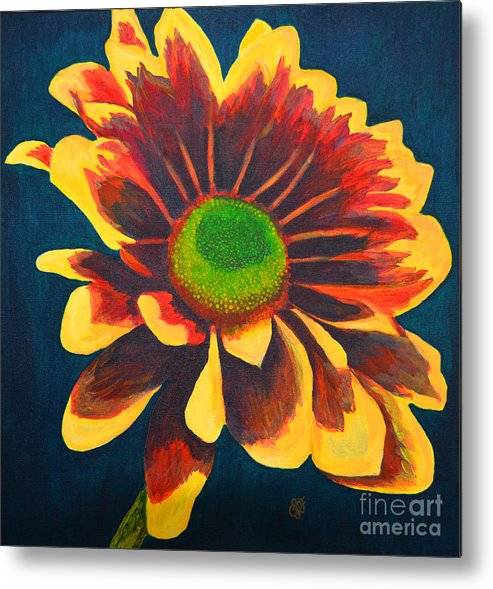 Flower Metal Print featuring the painting Reaching Bloom by Christine Dekkers
