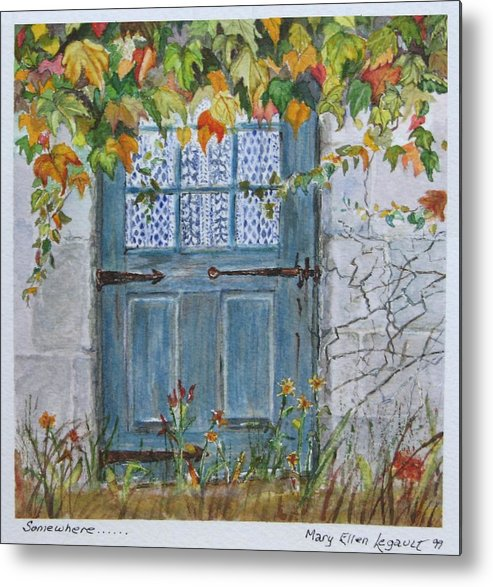 Autumn Leaves Metal Print featuring the painting Somewhere by Mary Ellen Mueller Legault