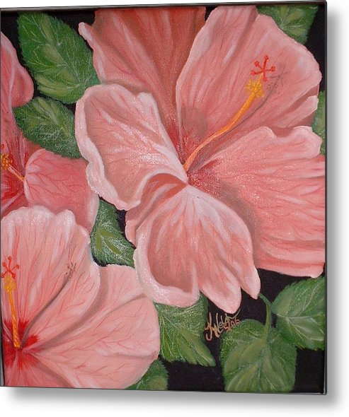 Hibiscus Metal Print featuring the painting Square Foot Hibiscus by Kathern Welsh