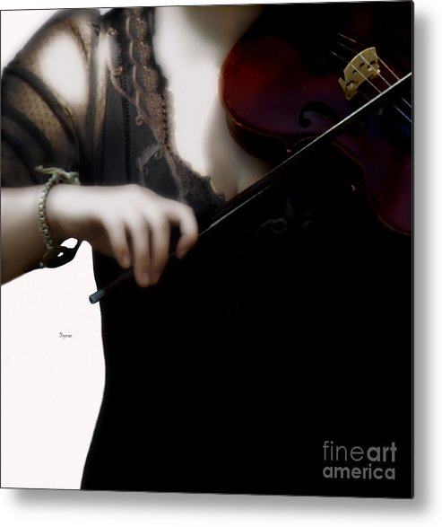 Music Metal Print featuring the photograph The Fiddle Player In Violin Concerto A Minor Grunge by Steven Digman