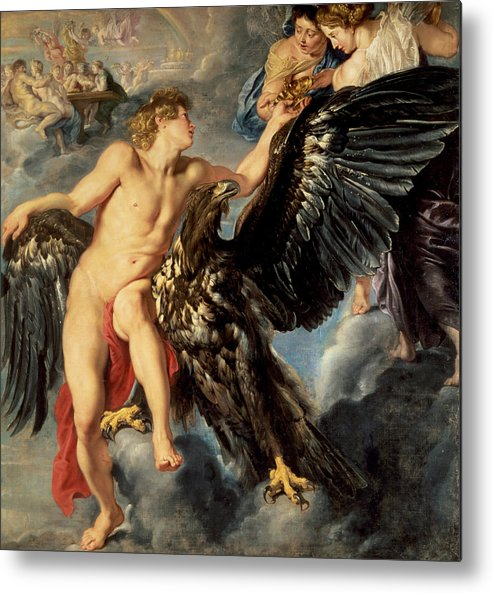 The Kidnapping Of Ganymede Metal Print featuring the painting The Kidnapping Of Ganymede by Rubens