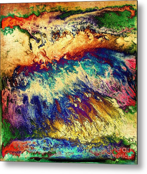 Red Metal Print featuring the digital art Wave Of Color by Patty Vicknair