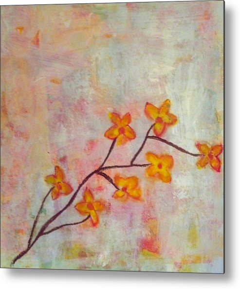 Metal Print featuring the painting Yellow Cherry Blossoms by Jennifer Hunteman