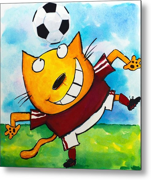 Cat Metal Print featuring the painting Soccer Cat 4 by Scott Nelson