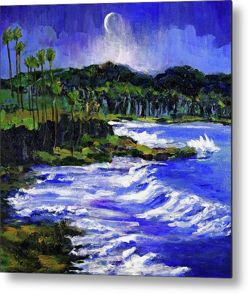 Sea Metal Print featuring the painting Blue Moon Over Laguna Beach by Randy Sprout