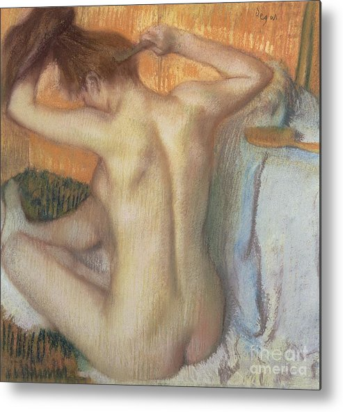 Back; Comb; Brush; Hair; Nude; Impressionist; Female; Se Coiffer; Peigne; Dos; Coiffant Metal Print featuring the pastel Woman Combing Her Hair by Edgar Degas