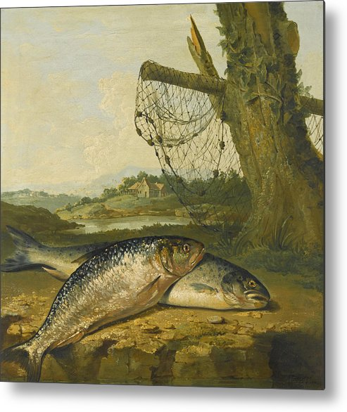 George Morland Metal Print featuring the painting A View On The River Derwent At Belper Derbyshire With A Salmon And A Grayling On The Bank by George Morland