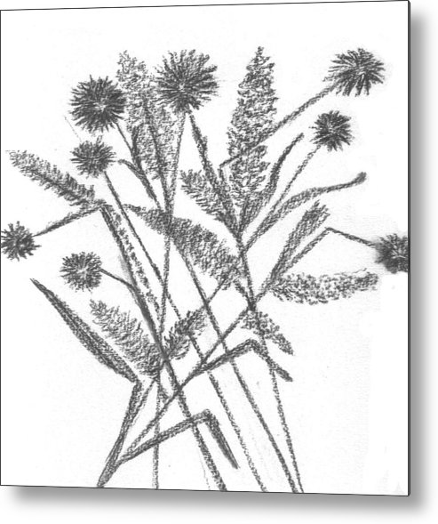 Abstract Flowers Metal Print featuring the drawing Abstract Flowers 5 by Hema Rana