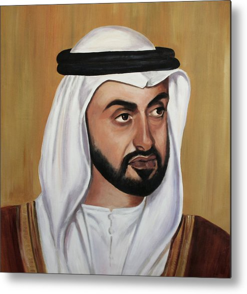 Abu Dhabi Metal Print featuring the painting Abu Dhabi Crown Prince by Fiona Jack