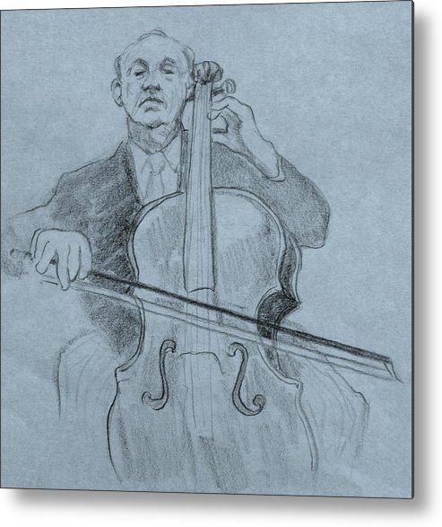 Portrait Metal Print featuring the drawing Cellist by Ruth Mabee
