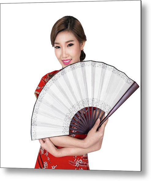 Chinese Metal Print featuring the photograph Chunese Lady In Chinese Dress by Anek Suwannaphoom