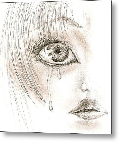 Face Metal Print featuring the drawing Crying Eye by Darryl Redfern