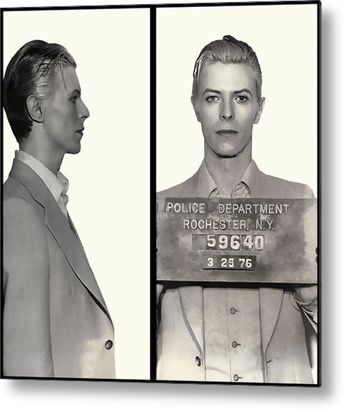 Bowie Metal Print featuring the photograph David Bowie Mugshot 1976 by Daniel Hagerman