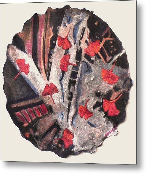 Gingko Metal Print featuring the painting Floating Gingko by Pamela Tarbell