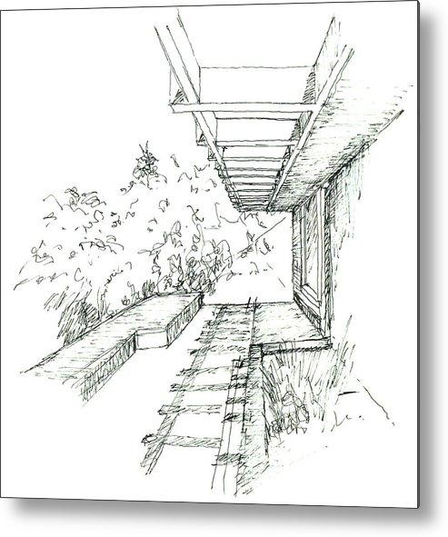 Walkway Metal Print featuring the drawing Foliage by KaramChand Nanta
