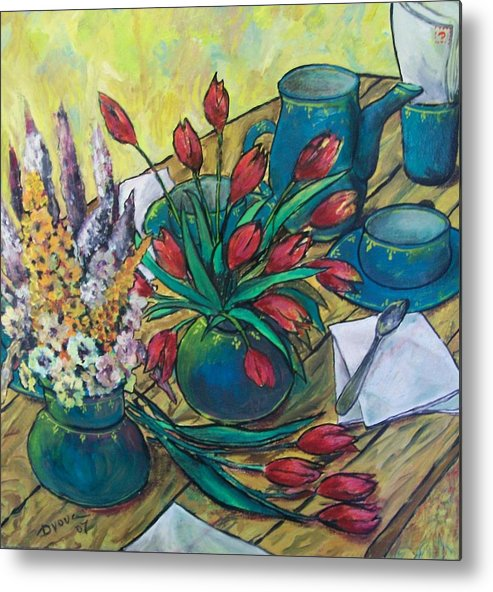 Painting Flowers Metal Print featuring the painting Garden Flowers by Vladimir Domnicev