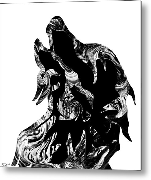 Howling Black Wolf Metal Print