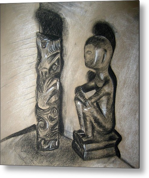 Figures Metal Print featuring the drawing Indio by Jessica De la Torre