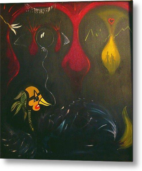 Surrealist Metal Print featuring the painting La Malade Imaginaire by Zsuzsa Sedah Mathe