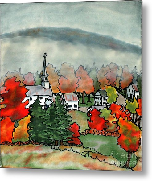 Village Metal Print featuring the painting Lifting Fog Silk Painting by Linda Marcille