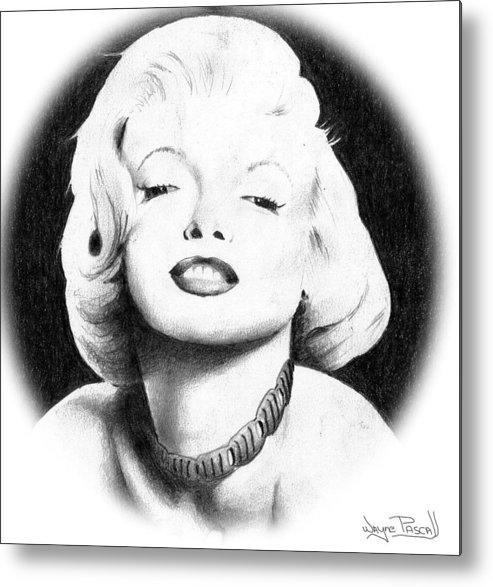 Marilyn Metal Print featuring the drawing Marilyn by Wayne Pascall