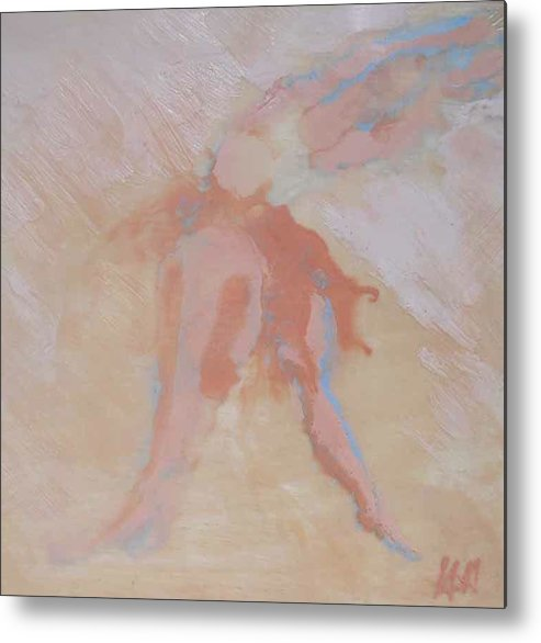 Abstract Encaustic Metal Print featuring the painting My Daughter The Dancer by Heather Hennick