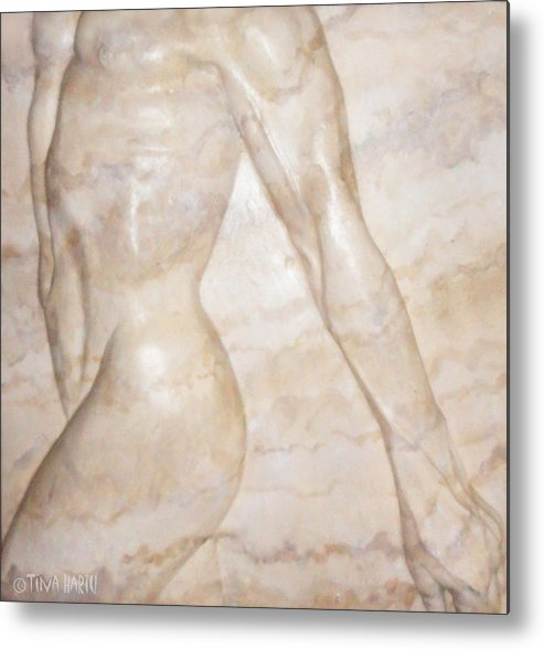 Male Metal Print featuring the sculpture Nude Male Strolling by Tina Hariu