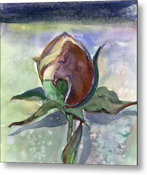 Rose Metal Print featuring the painting Rose In The Snow by Mindy Newman