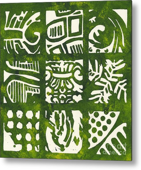 Linocut Metal Print featuring the drawing Rubbing Patterns Linocut by Kayla Race