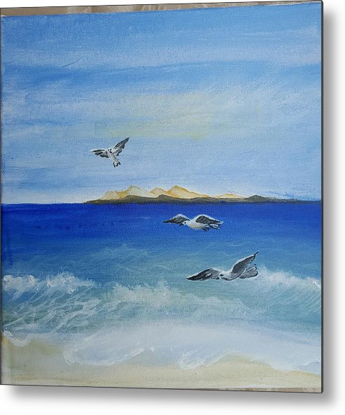 Seagull Metal Print featuring the painting Seagulls By The Sea by Magi Hosney Ezzat Naguib Mikhael