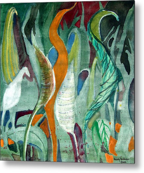 Leaves Metal Print featuring the painting Sprout by Mindy Newman
