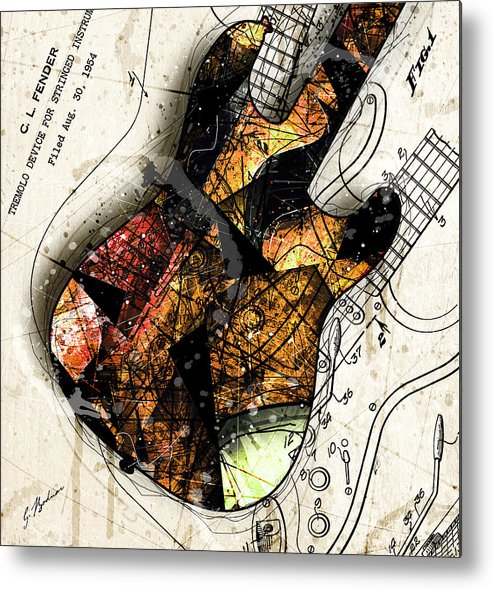 Guitar Metal Print featuring the digital art Strat Abstracta No. 4 Sunrise by Gary Bodnar