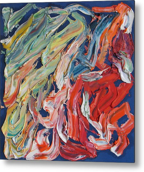Abstract Metal Print featuring the painting Warm Current. Colorful Painter Palette. Exhausted Paint And Abstract Painting. by Vitali Komarov