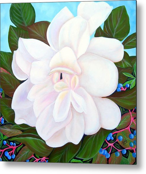 Floral Metal Print featuring the painting White Gardenia With Virginia Creepers by Kathern Welsh