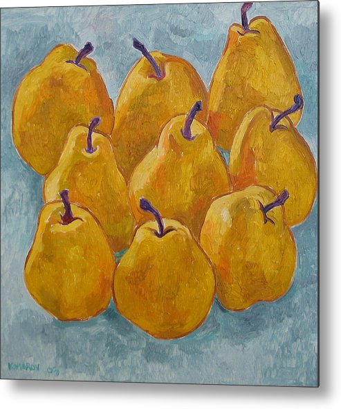 Pears Metal Print featuring the painting Yellow Pears by Vitali Komarov