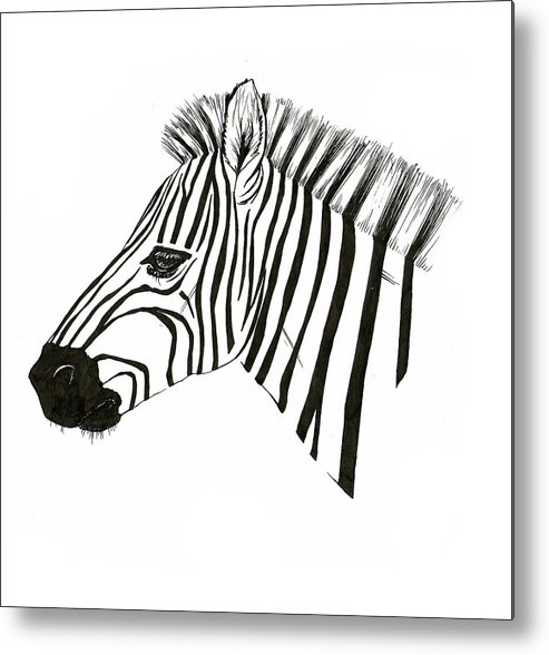 Pen Metal Print featuring the drawing Zebra by Fliss Ellis