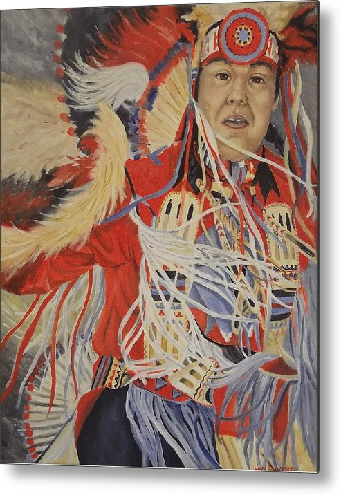 Indian Metal Print featuring the painting At The Powwow by Wanda Dansereau