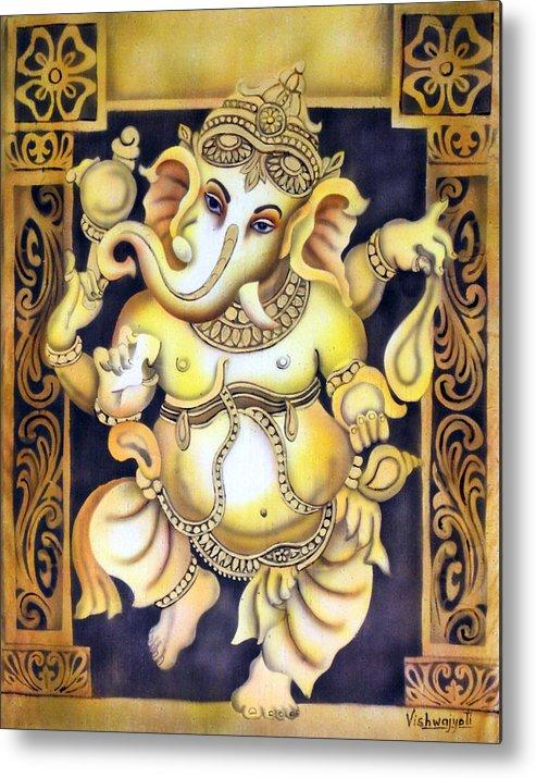 Ganesh Metal Print featuring the painting Dancing Ganesh by Vishwajyoti Mohrhoff