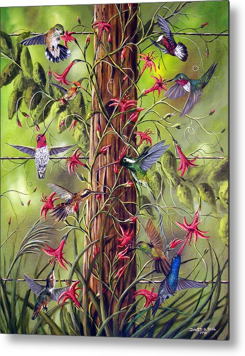 Birds Metal Print featuring the painting Gathering At The Fencepost by David G Paul