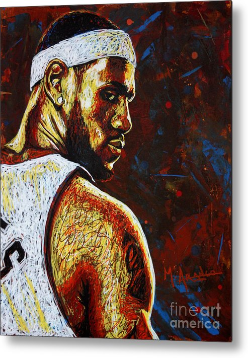 Lebron Metal Print featuring the painting Lebron by Maria Arango