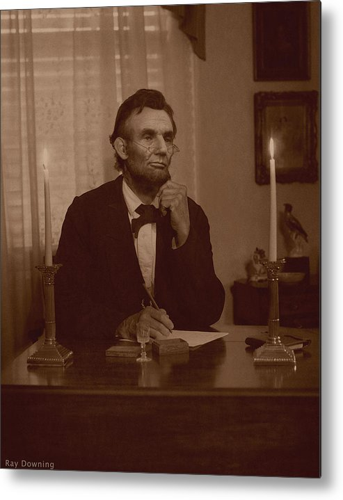 Abraham Lincoln Metal Print featuring the digital art Lincoln At His Desk by Ray Downing