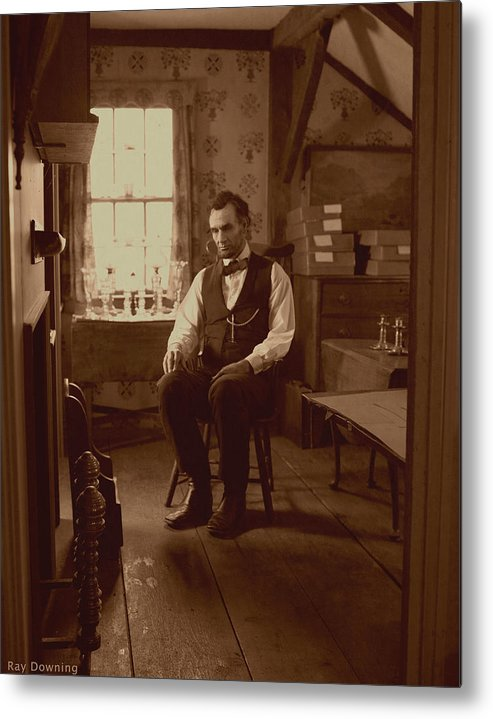 Abraham Lincoln Metal Print featuring the digital art Lincoln In The Attic by Ray Downing
