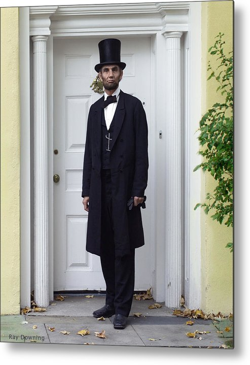 Abraham Lincoln Metal Print featuring the digital art Lincoln Leaving A Building 2 by Ray Downing