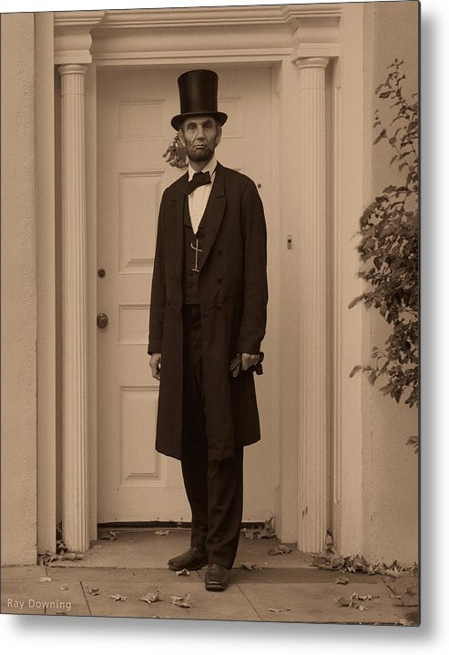 Abraham Lincoln Metal Print featuring the digital art Lincoln Leaving A Building by Ray Downing