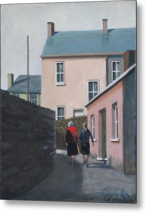 Landscape Metal Print featuring the painting Off To The Shops by Christopher Roe