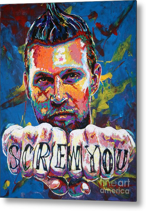 Chris Andersen Metal Print featuring the painting Screw You by Maria Arango