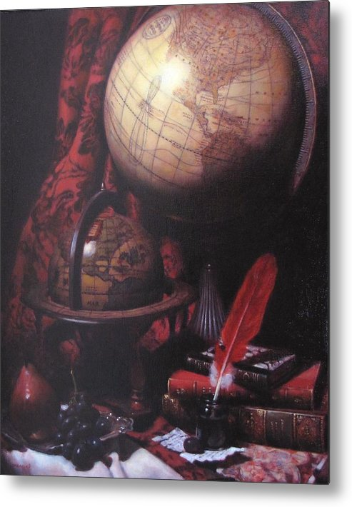 Still Life Metal Print featuring the painting Two Globes by Takayuki Harada